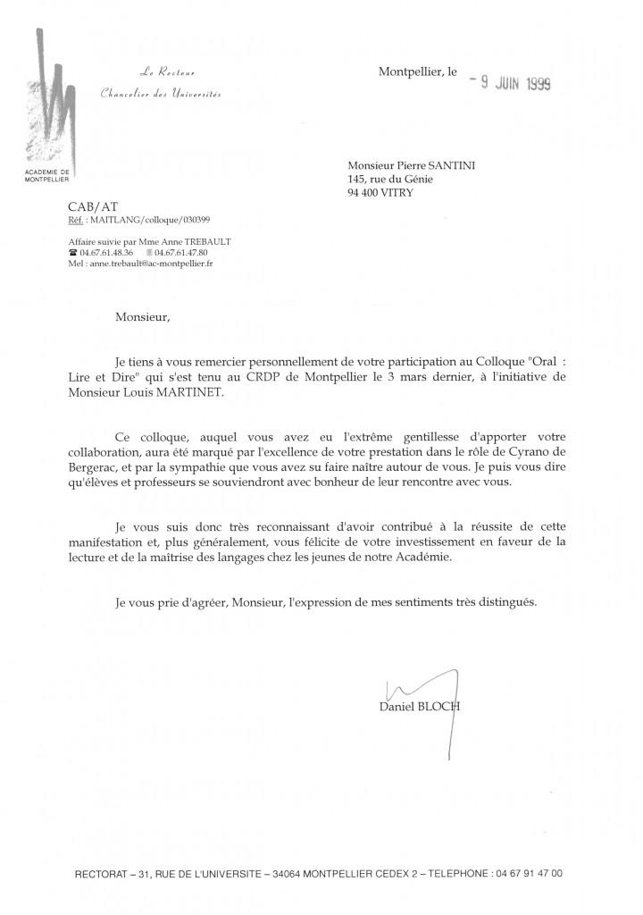 Lettre du rectorat de Montpellier